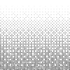 Abstract background with halftone falling figures. Monochrome black numbers of code.