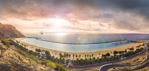 Wall Mural - View of Las Teresitas at sunset time, Tenerife, Canary Islands, Spain
