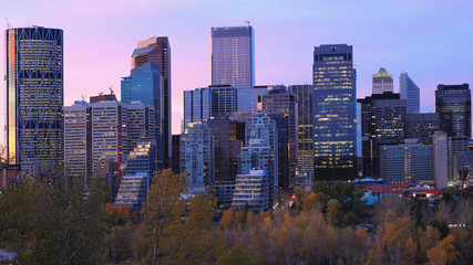 Twilight view of Calgary, Canada skyline