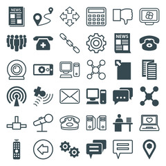 Set of 36 communication filled and outline icons