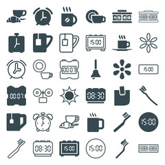 Set of 36 morning filled and outline icons