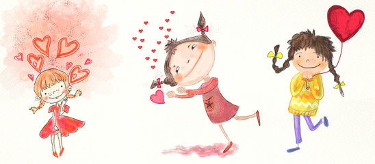 Girls and hearts. Watercolor and  gouache set.