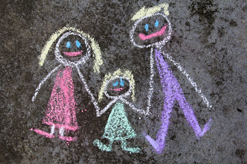 Colorful chalk drawing on asphalt: happy family