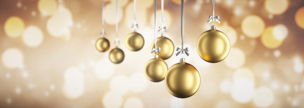 Hängende Weihnachtskugeln vor Lichterglanz Gold im Querformat 3:1