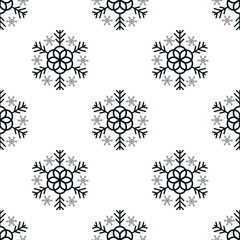 Snowflake simple seamless pattern. Black snow on white background. Abstract wallpaper, wrapping decoration. Symbol of winter, Merry Christmas holiday, Happy New Year celebration Vector illustration