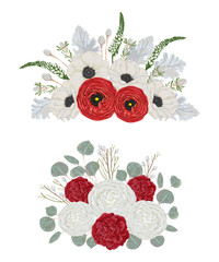 Decorative holiday bouquets set with flowers, leaves and branches. Vintage  floral elements. Hand drawn vector illustration in watercolor style