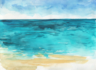 Ocean watercolor hand painting illustration.