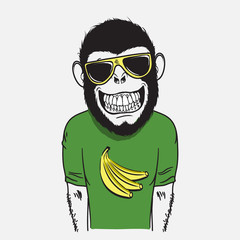 Funny smiling monkey dressed in t-shirt.Vector illustration