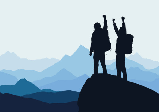 Vector illustration of mountain landscape with two men on top of rock celebrating success