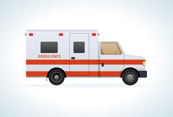 Modern car of medical ambulance service. Emergency vehicle.