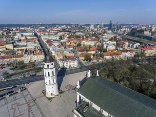Aerial view over cathedral of Vilnius old town panorama, Lithuania. During early sunny spring time.