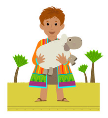 Joseph Clip-art - Joseph with his colorful coat holding a sheep in his arms. Esp 10