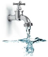 Wasserhahn mit fließend Wasser und Wellen isoliert weißer Hintergrund