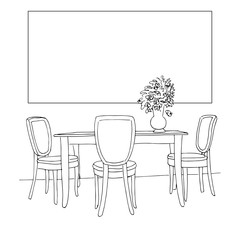 Part of the dining room. Table and chairs.On the table vase of flowers. Frame on the wall for Fitting Your information. Hand drawn sketch.Vector illustration.