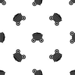 Vintage wooden cart pattern seamless black
