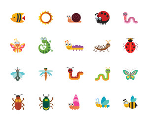 Funny insects icon set