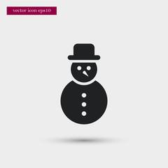 Snowman icon simple winter vector sign