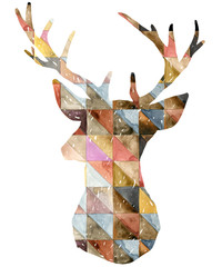 Watercolor deer illustration.