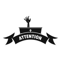 Zombie night logo, simple black style