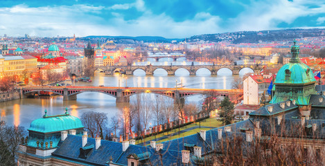 Czech Republic, Prague. Panorama of bridges.