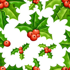 Set of flat mistletoe decoration. Branches with red berries green leaves. Seamless Christmas ornament. Vector illustration isolated on white background.