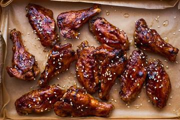 Hot homemade teriyaki chicken wings top view