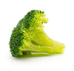 Steamed broccoli isolated on white background one piece.