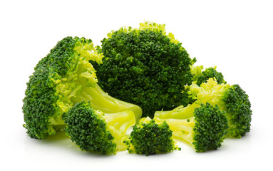 Steamed broccoli isolated on white background.