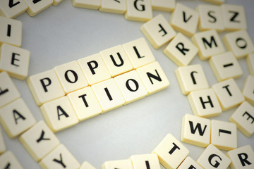 text population on the gray background near the letters.