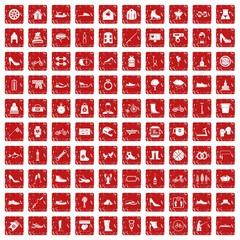 100 shoe icons set grunge red