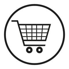 supermarket trolley, icon, vector illustration