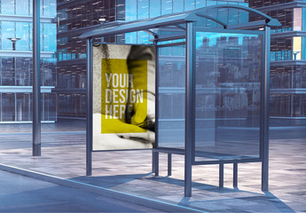 Bus Stop Advertising Kiosk Mockup on City Street 2