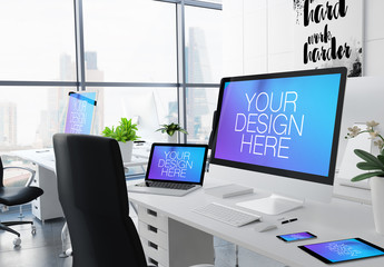 City Office Desk with 5 Devices Mockup