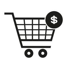 supermarket trolley, dollar icon, vector illustration