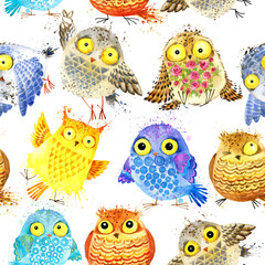 Seamless pattern with cute Owl. Watercolor Owl illustration.