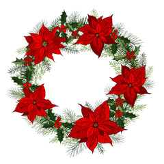 Traditional classic Christmas wreath with Poinsettias. Vector hand-drawn illustration.
