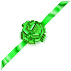 Beautiful big corner bow made of green shiny ribbon with shadow on white background