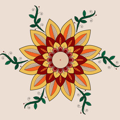 Vector illustration of a colored floral decoration,decorazione floreale colorata vettoriale