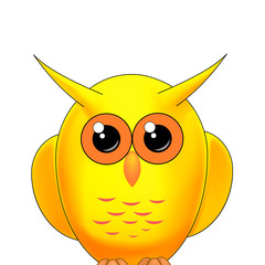 yellow owl on a white background