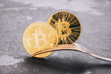 Bitcoin and Bitcoin-Cash Hard Fork, golden Cryptocurrency  concept image