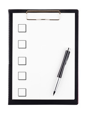 To do list with pen isolated on white background