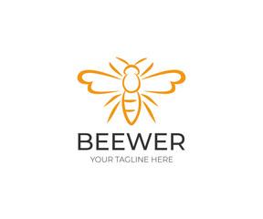 Bee Logo Template. Animal Vector Design. Line Honeybee Illustration
