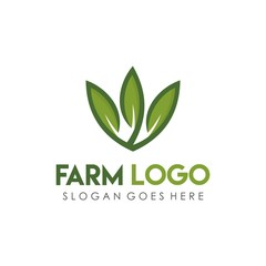 Leaf green, eco, and agriculture logo design template