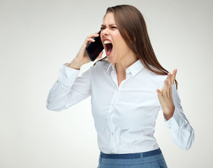 Angry woman boss shouting with phone.