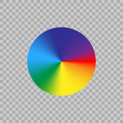 Spectrum color wheel on transparent background. Gradient rainbow circle color palette. Vector illustration