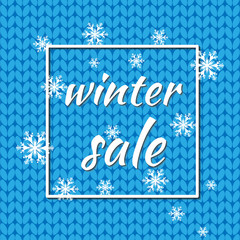 Winter sale. Vector illustration. Winter background of blue color with snowflakes and lights for seasonal promotion. It can be used as a poster, invitation, label,flyer.