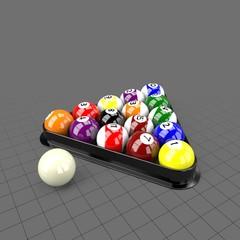 Billiard balls in triangle holder