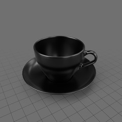 Black coffee cup with saucer