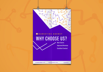 Purple and Orange Marketing Flyer Layout