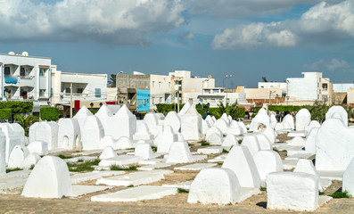 Ancient Muslim cemetery at the walls of Medina of Kairouan, Tunisia